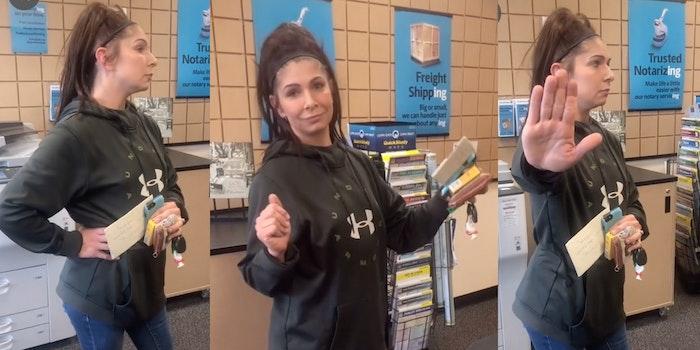 Karen yelling at UPS workers