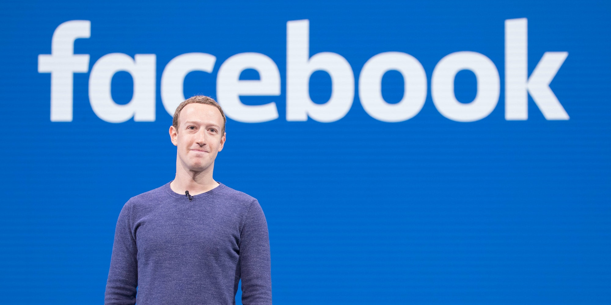 A picture of Mark Zuckerberg standing in front of the Facebook logo. A new study says Facebook is struggling to limit misinformation about the Georgia runoff Senate election.