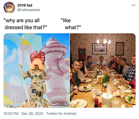 """""""why are you dressed like that? like what?"""" a photograph of Sia in her usual blonde wig with a big pink bow on top and a patchwork dress in front of a giant pink fire hydrants and a photograph of a white family around a Christmas dinner table all looking at the camera with surprised expressions"""
