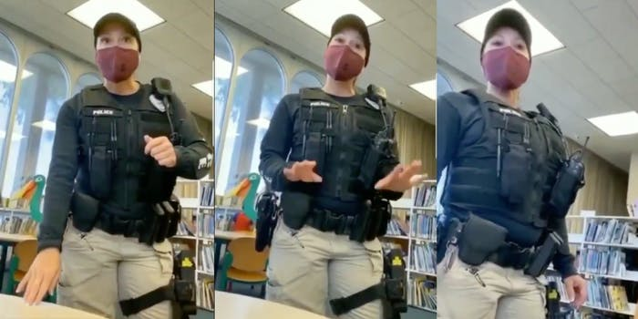 Police officer asks 'Library Karen' to leave public library after she refuses to wear a mask.