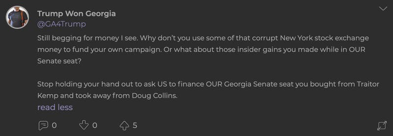 Parler users are mad at Loeffler for asking for donations