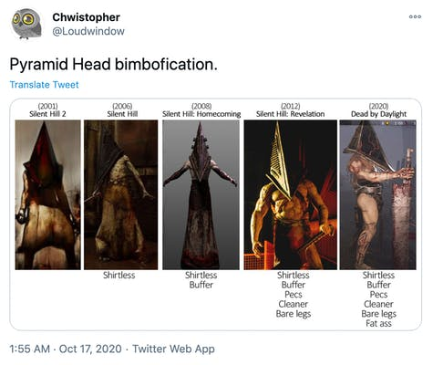 """""""Pyramid Head bimbofication."""" images of all five versions of Pyramid Head next to each other, demonstating how they get cleaner, more muscular and more skimpily dressed with each update"""