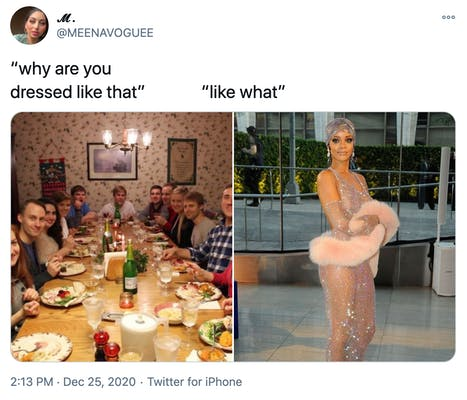 """""""why are you dressed like that? like what?"""" a photograph of a white family around a Christmas dinner table all looking at the camera with surprised expressions and a photograph of Rihanna in her transparent gem encrusted Met Gala dress"""