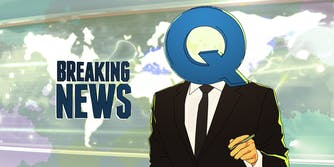 illustration of a newscaster with a Q for a head, with Breaking News graphic