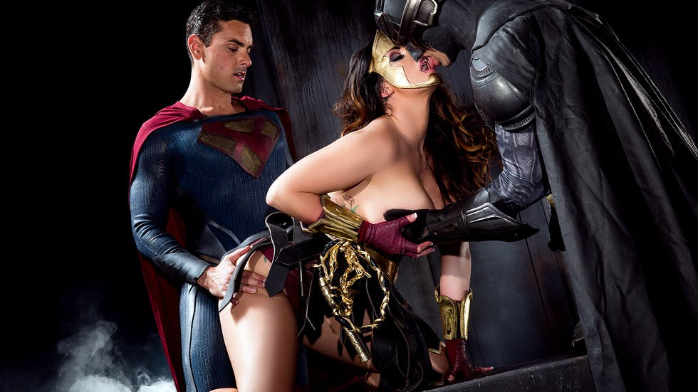 A roleplay porn parody of Batman, Superman, and Wonder Woman.