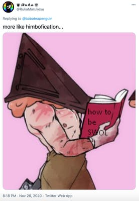 """""""more like himbofication..."""" close up of the section of the bimboficaton transition where he's reading the book. The book is labelled 'how to be swol'"""