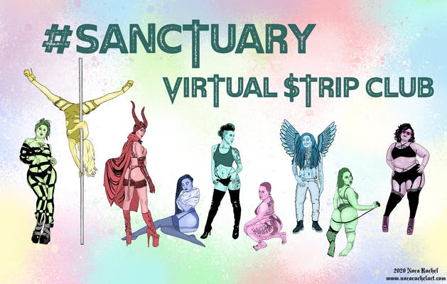 An illustration of nine strippers for SANCTUARY, the virtual strip club.