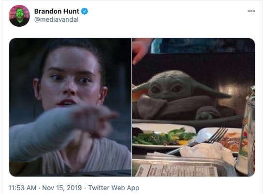 Tweet showing Baby Yoda inserted in the women pointing at cat meme