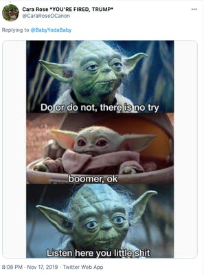 "Image showing Baby Yoda saying, ""ok Boomer"" to Master Yoda."