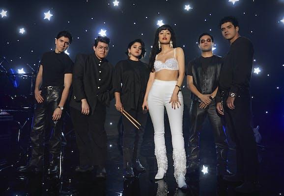 The cast of Selena: The Series as Selena Y Los Dinos