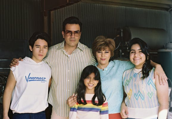 The cast of Selena: The Series as a younger version of the Quintanilla family
