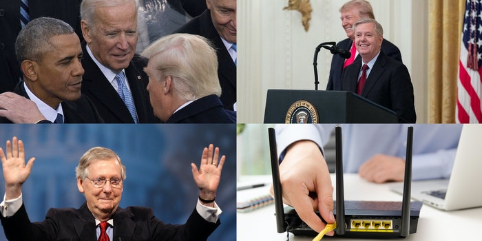 A collage of images showing Donald Trump, Joe Biden, Barack Obama, Lindsey Graham, Mitch McConnell and someone plugging in a router.