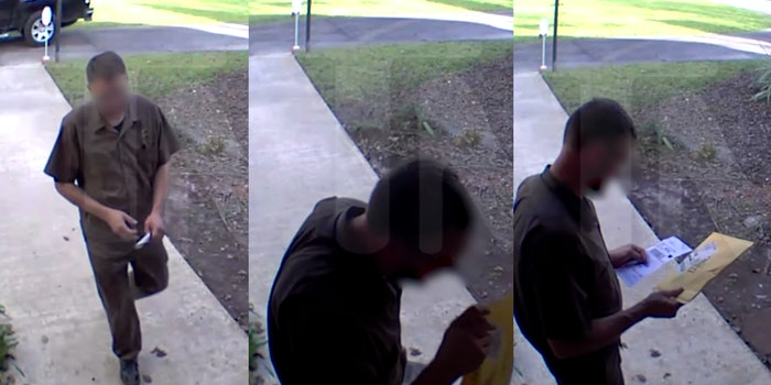 UPS driver fired - spit on package