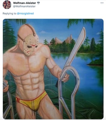 Painting of a muscle bound Jason in a yellow speedo, climbing out of the lake, dripping wet and carrying a machete