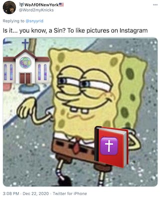 """Is it... you know, a Sin? To like pictures on Instagram"" screen grab of Spongebob flapping his wrist with a red exercise book with a purple cross on the front of it photoshopped in"