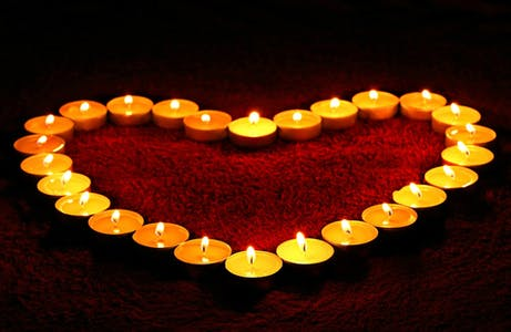 Candles in the shape of a heart.