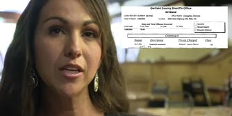 Lauren Boebert next to an arrest record