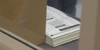 A stack of ballots