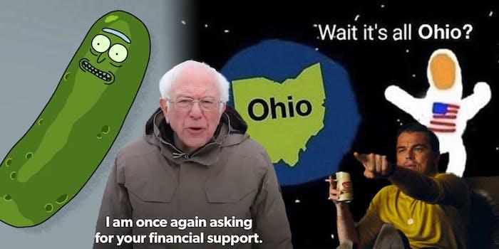 pickle rick, bernie sanders, it's all ohio, and pointing leonardo dicaprio memes