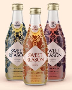 Sweet Reason's Evening Sampler contains three flavors of tea-like CBD beverages in decorative glass bottles.