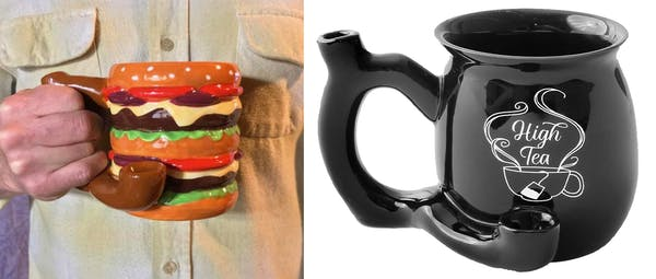 Wake-and-bake bowl mugs make great stoner gifts! Image shows a coffee mug with a built in pipe.