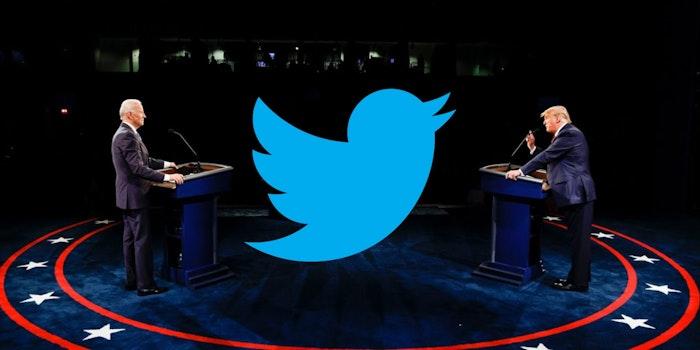 Donald Trump and Joe Biden and the Twitter logo