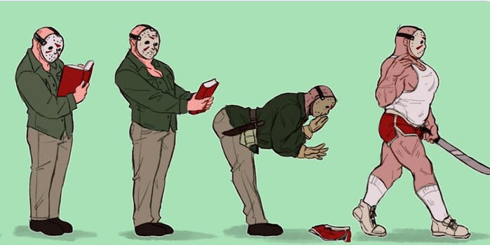 drawings of Jason from Friday 13th, starting with his original incarnation and progressing to a muscle bound white tank top and red boxer shorts wearing version. The different versions of him are in different stages of putting a book down on the floor, the most bimbofied is walking away from it.