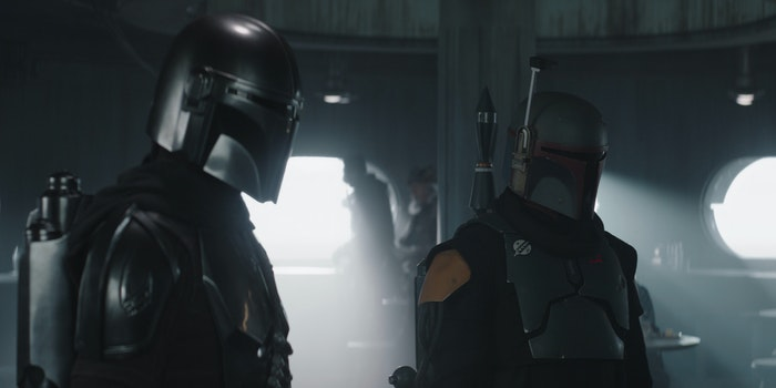 din djarin and boba fett in mandalorian armor