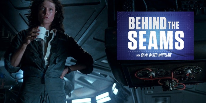 Behind the Seams with Gavia Baker-Whitelaw, over Ripley from Alien holding coffee mug