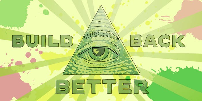 BUILD BACK BETTER around an eye in a triangle with a sunburst background