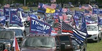 A caravan of pro-Trump vehicles
