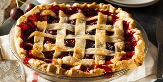 picture of cherry pie on table