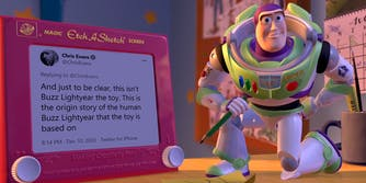 """chris evans tweet on """"etch-a-sketch"""" that says """"And just to be clear, this isn't Buzz Lightyear the toy. This is the origin story of the human Buzz Lightyear that the toy is based on"""""""