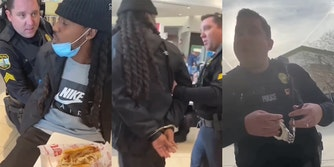 cop handcuffs Black man while eating lunch with his family at a mall, leads him outside, then removes the cuffs