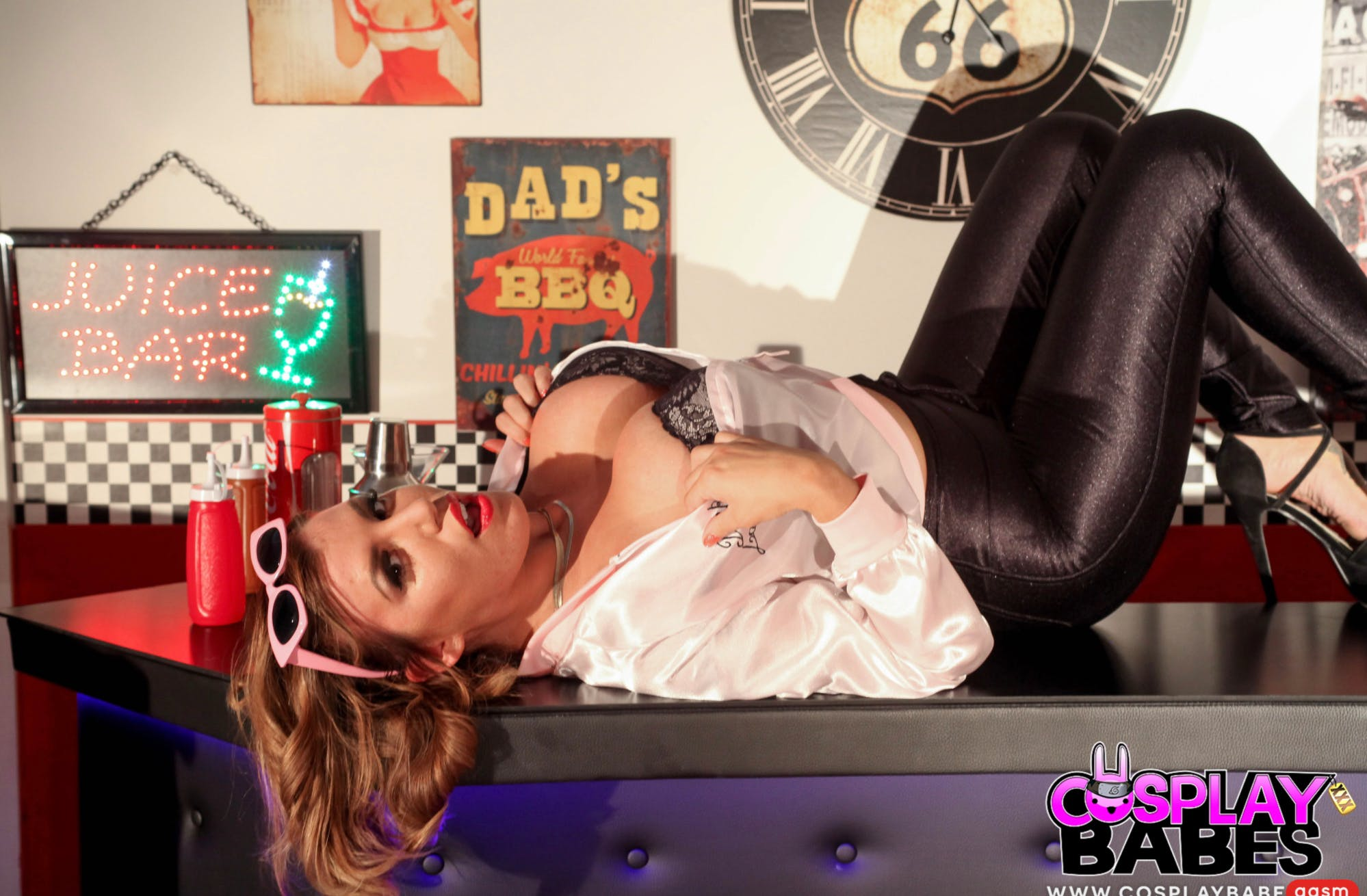 """Scene from CosplayBabes' """"Grease'd Up"""" parody."""