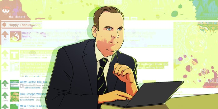 "illustration of dan scavino at laptop over subreddit ""the donald"" background"