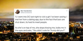 A tweet over an image of Washington D.C. at night