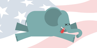 illustration of dead elephant over faded flag