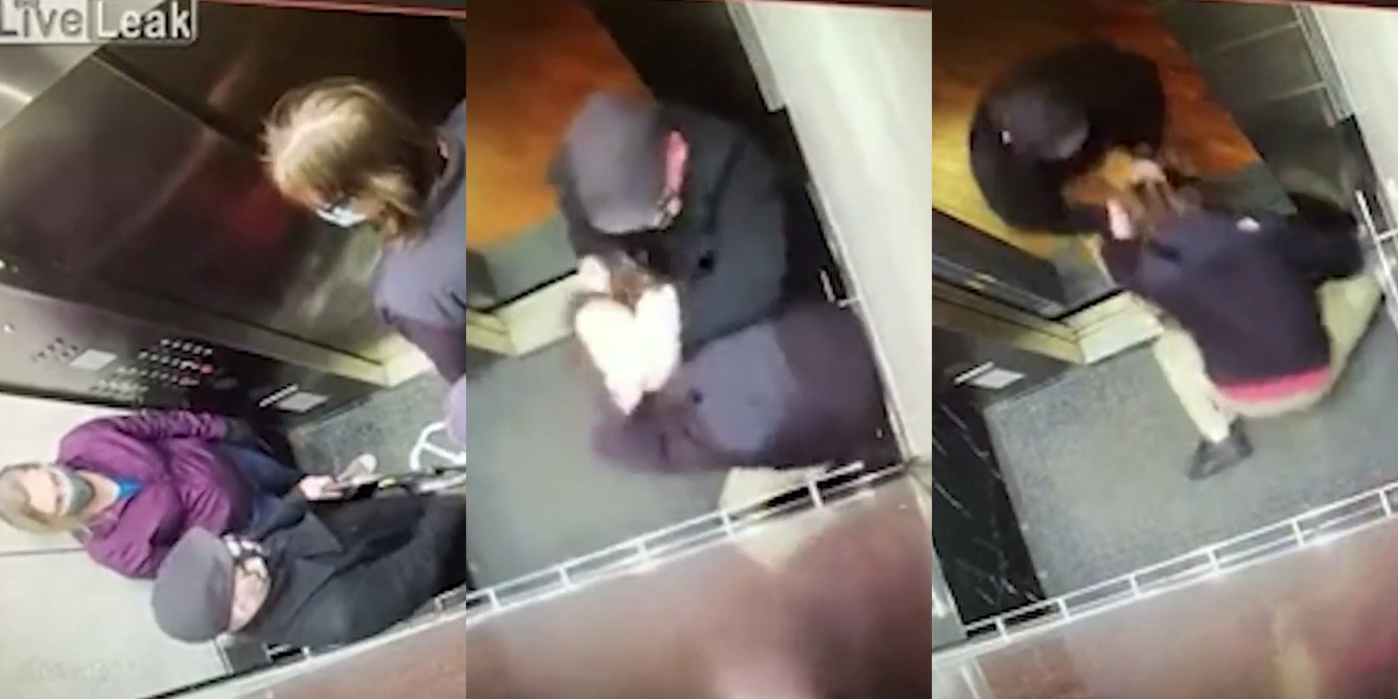 man standing on crowded elevator coughs toward couple, man grabs coughing man, drags him out of elevator by hair