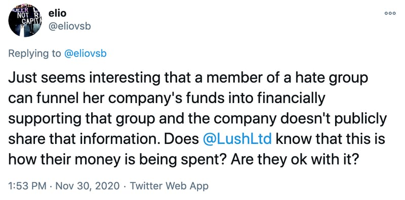 Just seems interesting that a member of a hate group can funnel her company's funds into financially supporting that group and the company doesn't publicly share that information. Does  @LushLtd  know that this is how their money is being spent? Are they ok with it?
