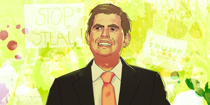 """illustration of eric trump over protesters holding """"stop the steal"""" and """"trump pence"""" signs"""
