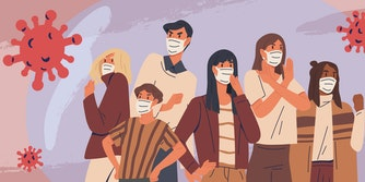 people wearing face masks for flu prevention