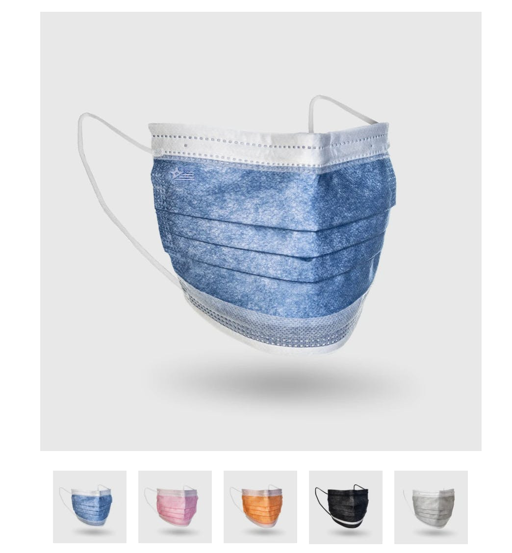image shows options for surgical mask colors. The sick masks are available in blue, pink, orange, black, and light grey.