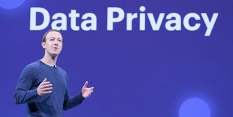 mark zuckerberg speaking at facebook event about data privacy