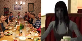 a photograph of a white family around a Christmas dinner table all looking at the camera with surprised expressions and a primitive Sims style cgi image of a grey skinned woman with stringy black hair over her face