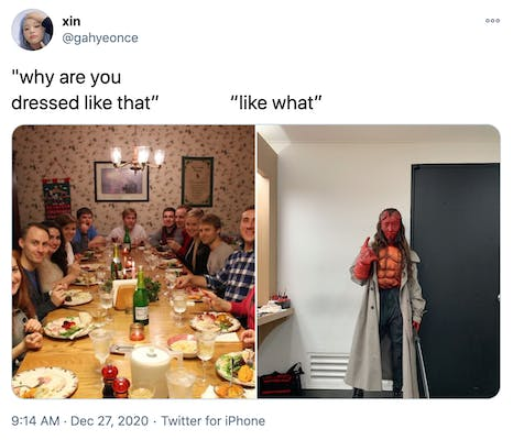 """""""why are you dressed like that? like what?"""" a photograph of a white family around a Christmas dinner table all looking at the camera with surprised expressions and a man in well done Hellboy cosplay, with red painted skin, prosthetic horns and a grey trench coat"""