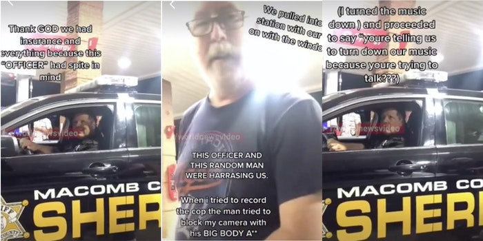 gas station confrontation two old men vs two young women