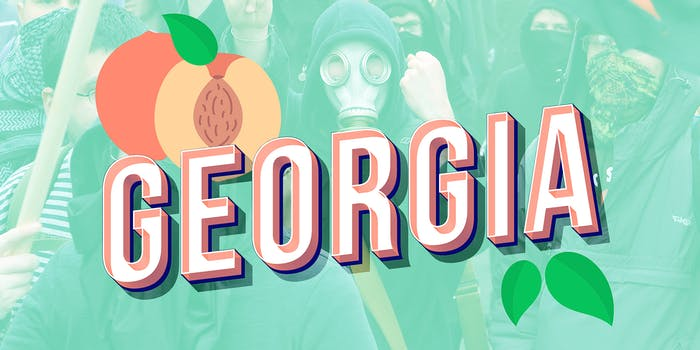 """Antifacist protesters behind text that says """"Georgia"""" and illustration of a peach and leaves"""