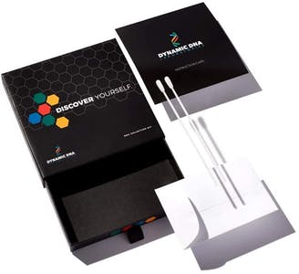 Image showing what's in the Cannabis DNA Test. Features two swabs, an envelope and a mail-away box.
