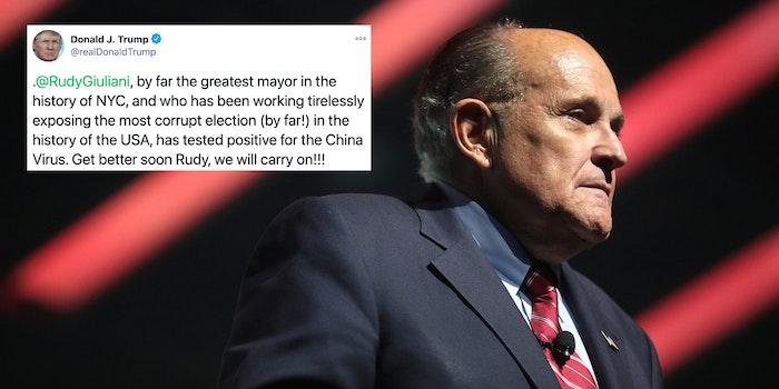 Rudy Giuliani next to a tweet
